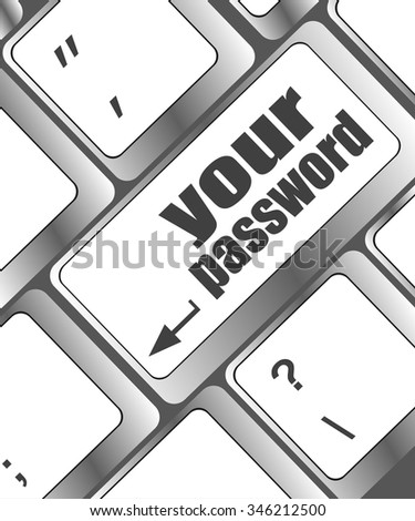 your password button on keyboard - security concept vector illustration