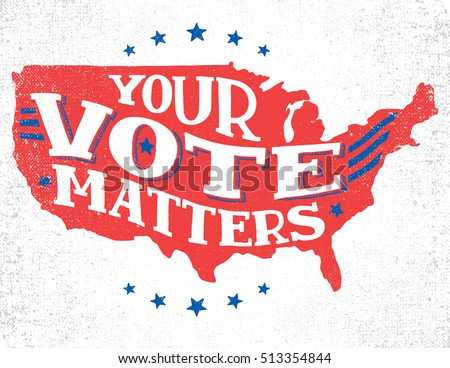 Your vote matters. American election hand-lettering illustration with textured sketch of silhouette US map. Vintage typography isolated on white background