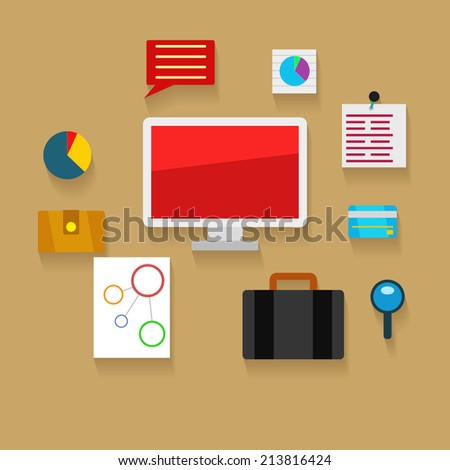 Your workplace, set of flat vector elements and icons. Business illustration - stock vector
