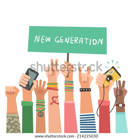 Youth crowd with banner. Manifesting new generation crowd. A lot of hands of young people with different gestures. Vector illustration in flat style - stock vector