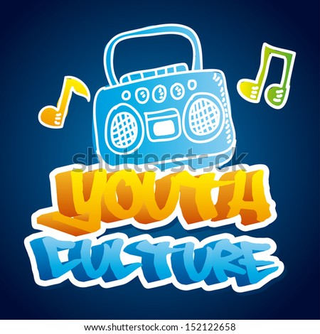 youth culture over blue background vector illustration - stock vector
