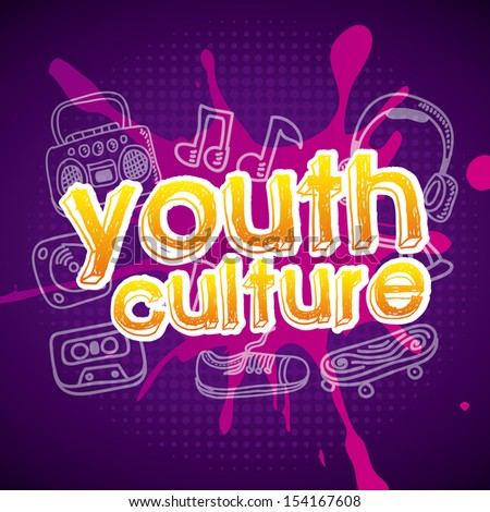 youth culture over purple background vector illustration - stock vector