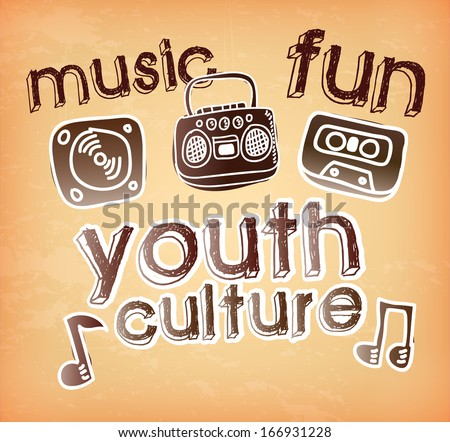 youth culture over vintage   background vector illustration - stock vector