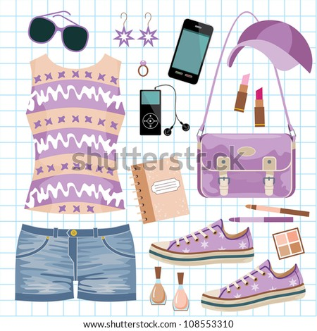 Youth fashionable set. vector - stock vector