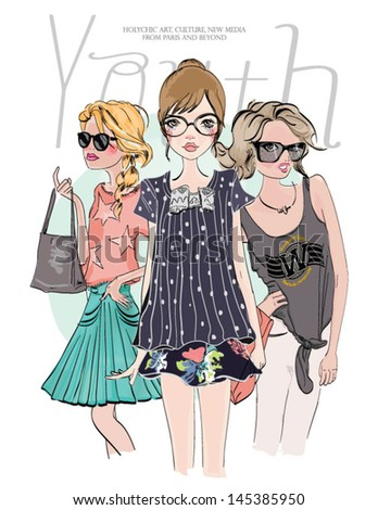 youth sketch fashion girl friends - stock vector