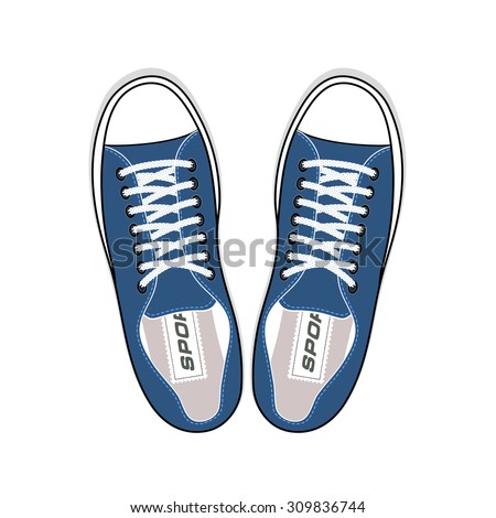 Youth sneakers stylish shoes top view - stock vector