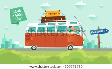 """Youth traveling by a vintage camper van on city background. """"Adventures"""" road sign and """"Have a good trip"""" ribbon. Vector colorful illustration in flat style - stock vector"""