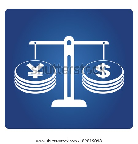 yuan and dollar currency on balance scale - stock vector