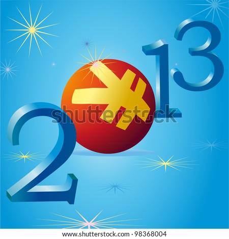Yuan symbol in 2013 New Year - stock vector