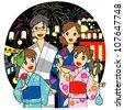 Yukata/kimono for summer - stock vector