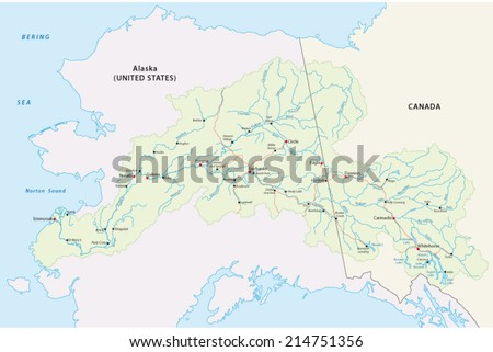 Yukon River Map Stock Vector Shutterstock - Yukon river map