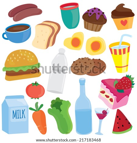 yummy breakfast clip art - stock vector