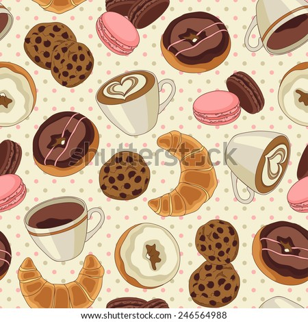 Yummy colorful chocolate cookies, donuts and cups of coffee seamless pattern, light yellow - stock vector