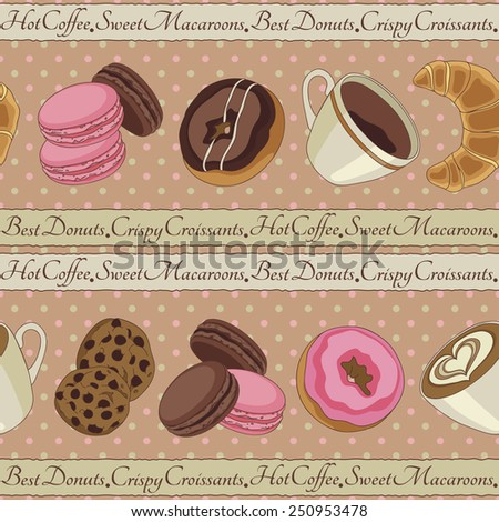 Yummy colorful chocolate cookies, donuts macaroons, croissants and cups of coffee seamless pattern, beige - stock vector