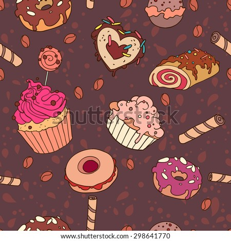 Yummy colorful sweet cake candy macaroon cupcake donut seamless pattern, in brown background - stock vector