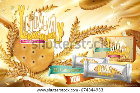 Yummy Crackers ad, close up look at naturally flavored crackers and wheats flying in the air, illuminated background and package design in 3d illustration