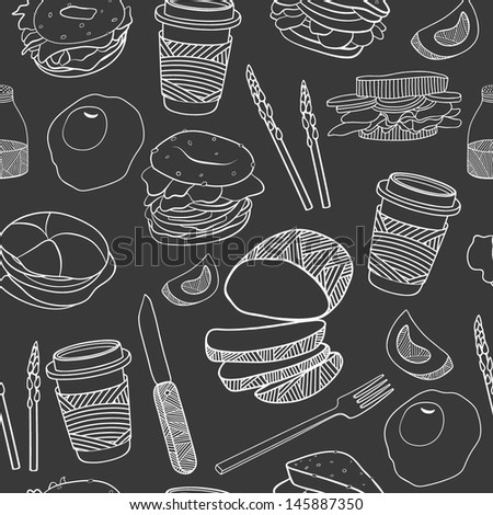 Yummy food seamless pattern. Hand drawn vector. Good for backgrounds, fabric, kitchen and cafe stuff - stock vector