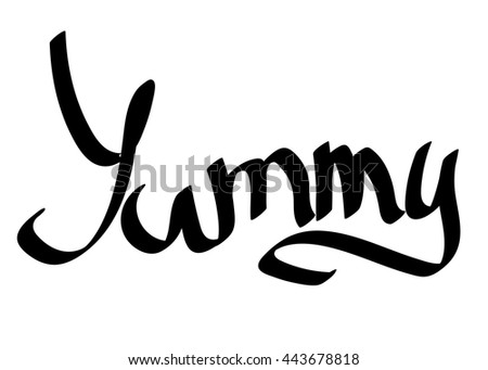 Yummy, isolated calligraphy on white background, word design, vector illustration