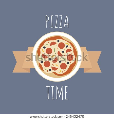 Yummy pizza advertisement. Colorful logo on blue background. Delicious pizza on a plate with a ribbon. - stock vector