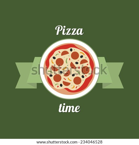 Yummy pizza advertisement. Colorful logo on green background. Delicious pizza on a plate with a ribbon. - stock vector
