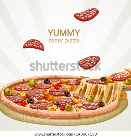 Yummy tasty pizza with sausage banner - stock vector