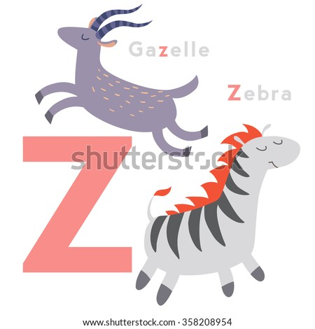 Z letter animals set. English alphabet. Vector illustration, isolated on white background - stock vector
