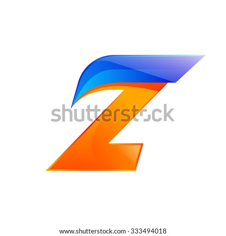 Z letter blue and Orange logo design Fast speed design template elements for application. - stock vector