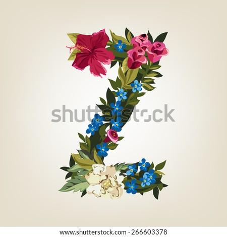 Z letter. Flower capital alphabet. Colorful font. Uppercase.  Vector illustration. - stock vector