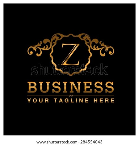 Z letter Gold Luxury Logo template flourishes calligraphic elegant ornament lines. Business sign identity for Restaurant, Royalty, Cafe, Hotel, Heraldic, Jewelry, Fashion and other vector illustration