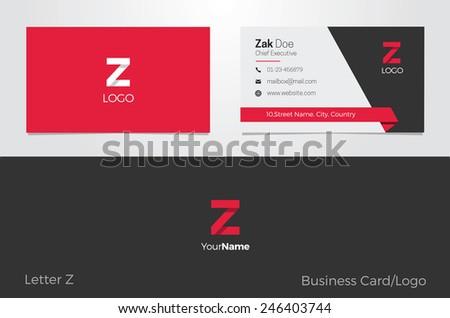 Z Letter Logo Business card - stock vector