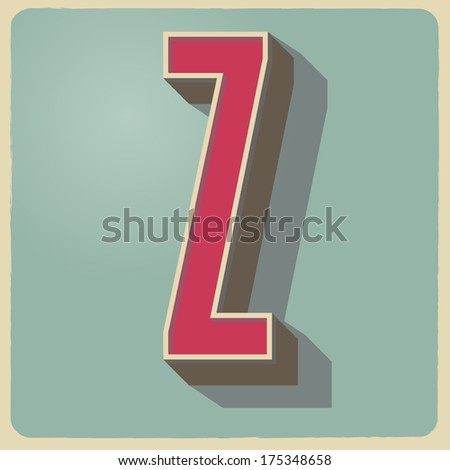 Z letter of 3d vector illustrated relief retro font with shadow - stock vector