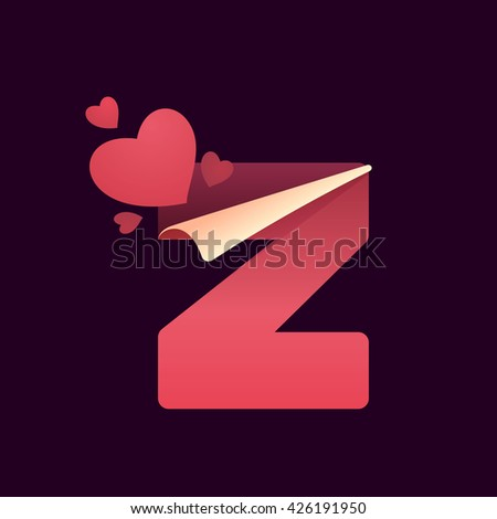 Z letter with paper folded corner and hearts. Vector paper style typeface for st. Valentine's day. Red letter icon for card, app icon, corporate identity, label or poster. - stock vector