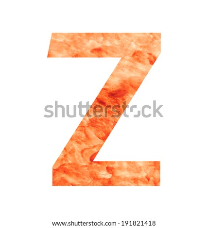 z letter with texura shaped brown earth or stone