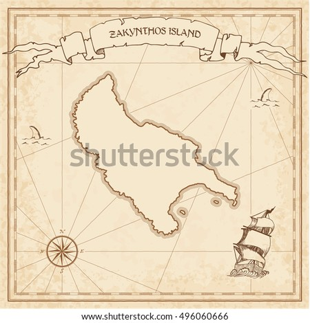 Zakynthos Island Old Treasure Map Sepia Stock Vector 496060666