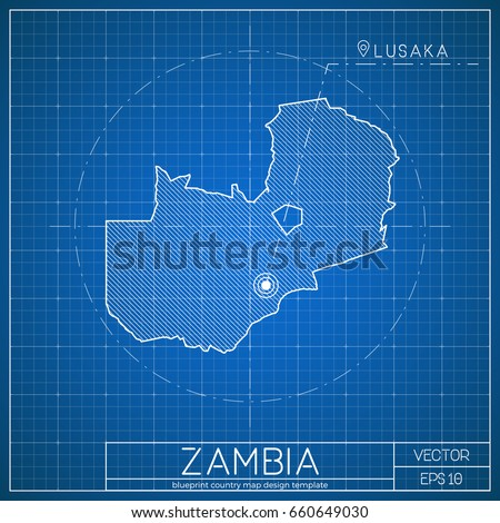 Burundi blueprint map template capital city stock vector 653050183 zambia blueprint map template with capital city lusaka marked on blueprint zambian map vector malvernweather Gallery