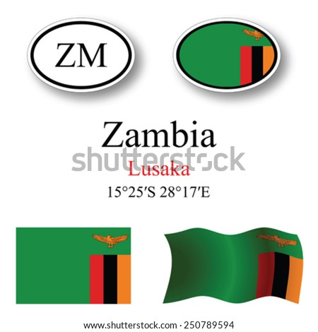 zambia icons set against white background, abstract vector art illustration, image contains transparency - stock vector