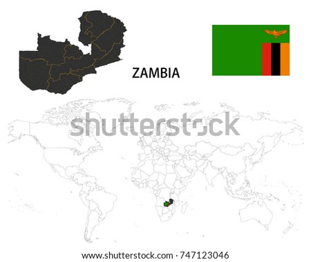 Zambia Map On World Map Flag Stock Vector 747123046 - Shutterstock