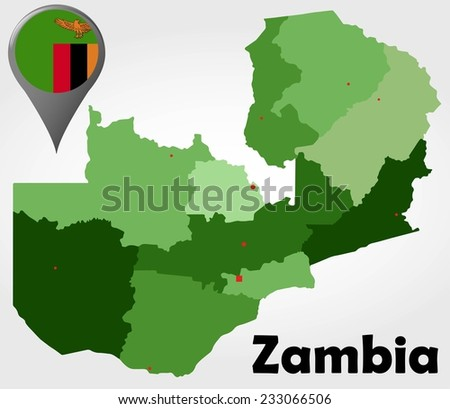 Zambia Political Map Green Shades Map Stock Vector 233066506