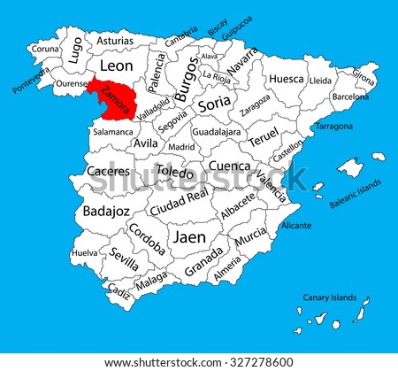 Zamora map, Spain province vector map. High detailed vector map of Spain with separated regions isolated on background. Spain autonomy areas map. Editable vector map of Spain.