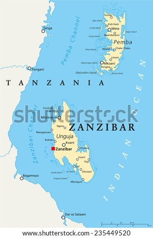 Zanzibar, political map of the semi-autonomous part of Tanzania in East Africa, an archipelago in the Indian Ocean composed of the two islands Unguja and Pemba. English labeling and scaling. - stock vector