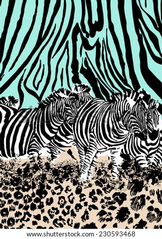 Zebra and leopard print in vector,reflected - stock vector