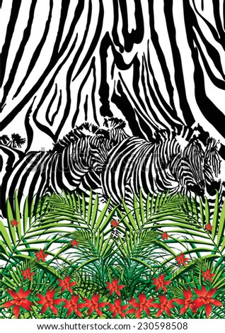 Zebra and leopard print with palm leaf and tropical flowers in vector. - stock vector