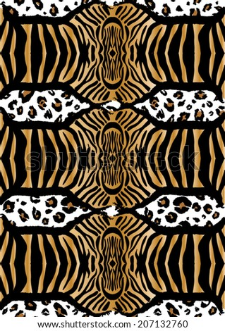 Zebra and leopard skins,mixed pattern - stock vector