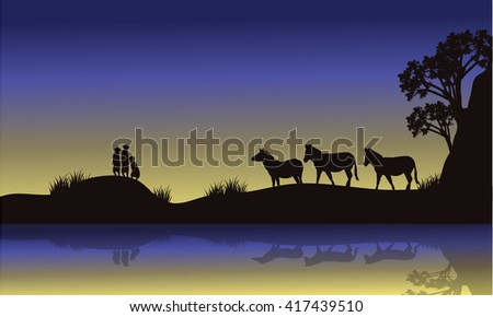 Zebra and meerkat at night scenery a very beautiful - stock vector
