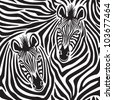 Zebra Couple repeating pattern. - stock vector