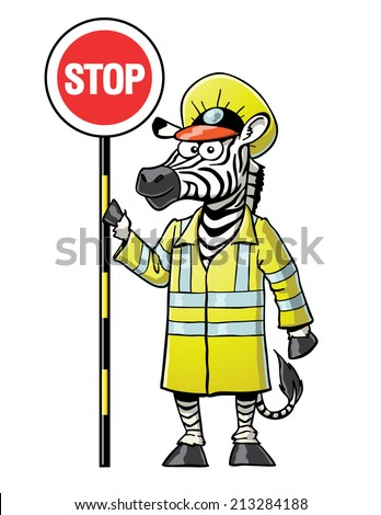 Zebra Crossing Guard - stock vector