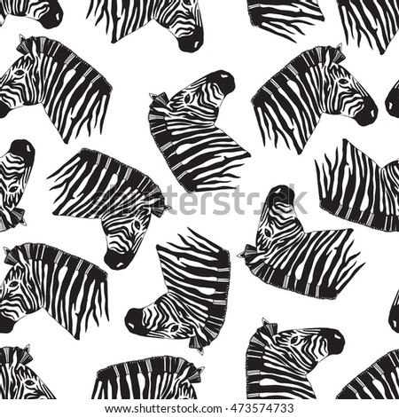 Zebra Head Pattern Stock Vector 473574733 - Shutterstock