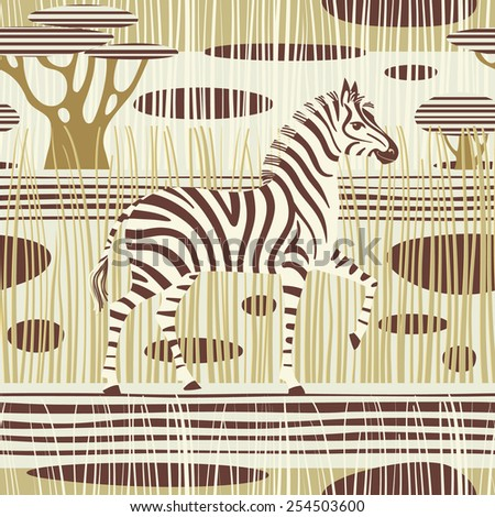 Zebra in african savannah. Seamless striped background. Vector illustration. - stock vector