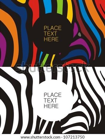 Zebra pattern color&black - stock vector