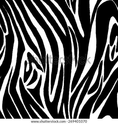 Zebra skin seamless pattern - stock vector